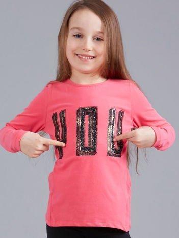 Różowa bluzka dziewczęca z aplikacją