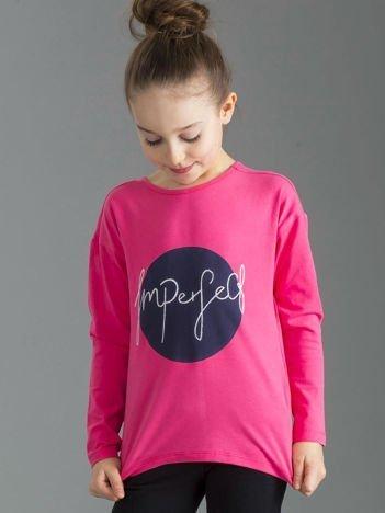 Różowa bluzka dziewczęca z nadrukiem