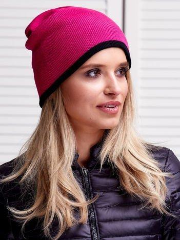 Różowa dwustronna czapka damska