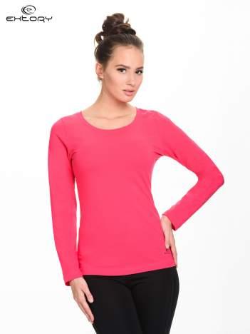 Różowa gładka bluzka sportowa z dekoltem U PLUS SIZE