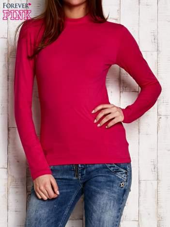 Różowa gładka bluzka z półgolfem