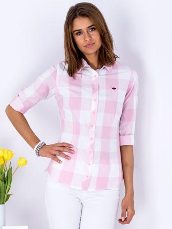 Różowa kraciasta koszula