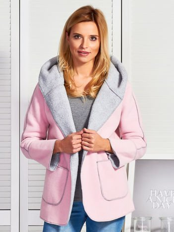 Różowa kurtka damska z podszewką barankiem