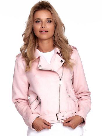 Różowa kurtka ramoneska damska