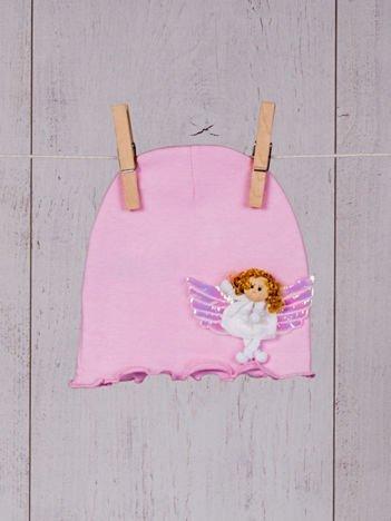 Różowa niemowlęca bezuciskowa elastyczna przejściowa czapeczka dziewczęca z aniołkiem