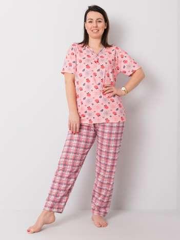 Różowa piżama plus size z nadrukiem