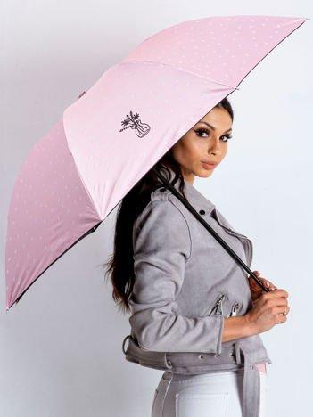 Różowa półautomatyczna parasolka