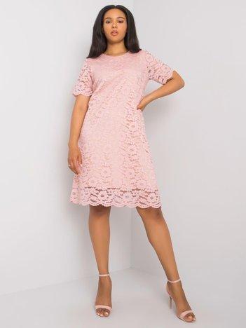 Różowa sukienka koronkowa plus size Ginny