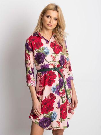 04a536f278 Różowa sukienka koszulowa w duże kwiaty