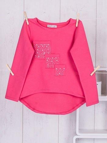Różowa tunika dziewczęca z kieszonkami