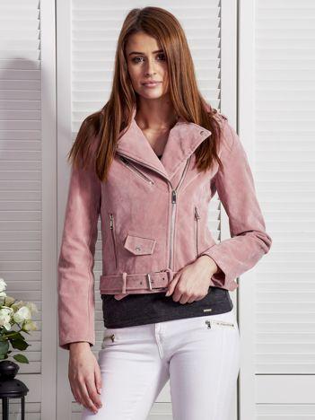 Różowa zamszowa kurtka ramoneska