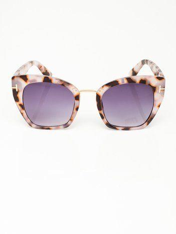Różowe Duże Damskie Okulary Przeciwsłoneczne KOCIE OCZY