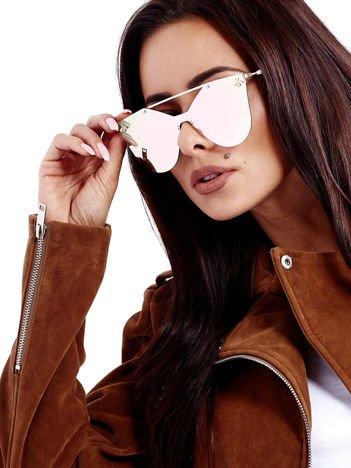 Rózowe Lusztrzane Okulary Przeciwsłoneczne MUCHY CELEBRYTKI