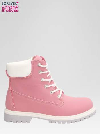 Różowe buty trekkingowe damskie traperki Shimmy