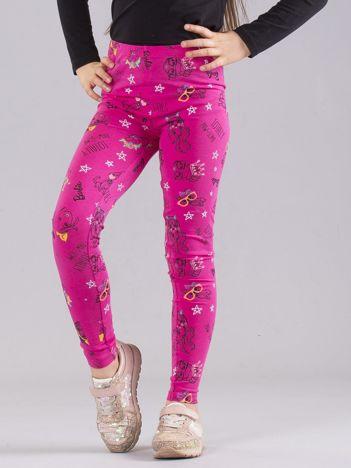 Różowe dziewczęce legginsy BARBIE w kotki i pieski