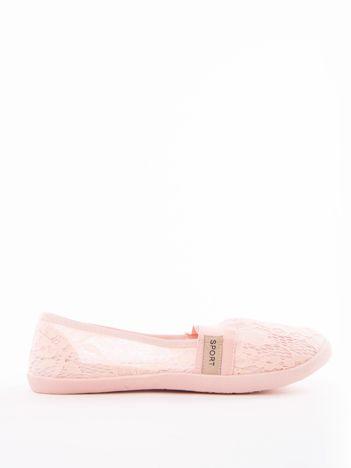 Różowe koronkowe baleriny z elastyczną wstawką