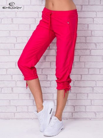 Różowe spodnie sportowe capri z siateczką