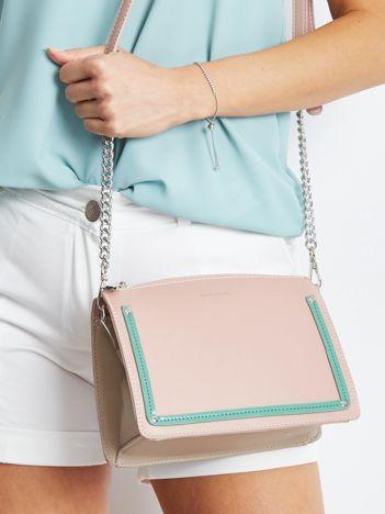 Różowo-beżowa mała torebka