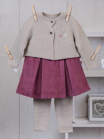 Różowo-beżowy ciepły niemowlęcy 3-częściowy komplet z sukieneczką i sweterkiem dla dziewczynki na co dzień i na specjalne okazje