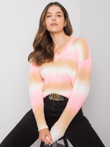 Różowo-beżowy sweter ombre Maritza RUE PARIS