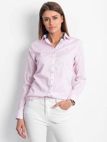 Różowo-biała koszula we wzór pasków