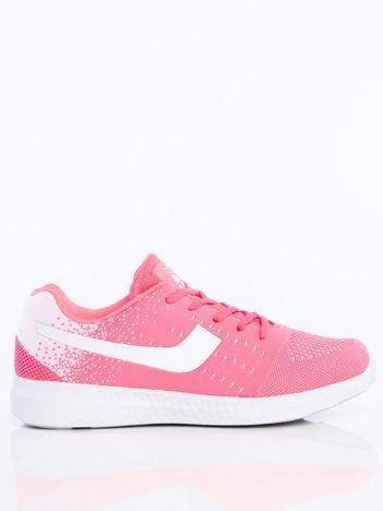 Różowo- białe buty sportowe z miękkiej tkaniny na białej podeszwie
