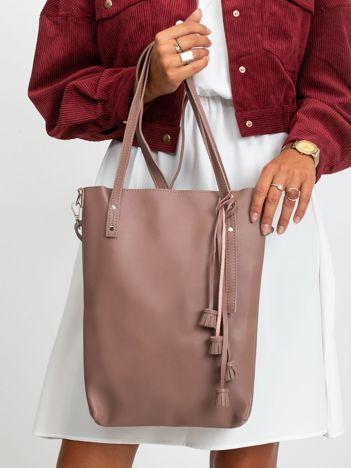 Różowo-brązowa torebka z ekologicznej skóry