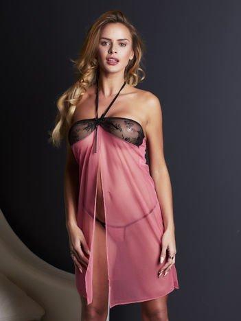 Różowo-czarny komplet koszulka wiązana na szyi i stringi