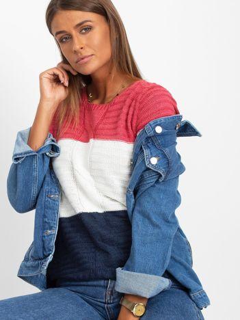 Różowo-granatowy sweter damski