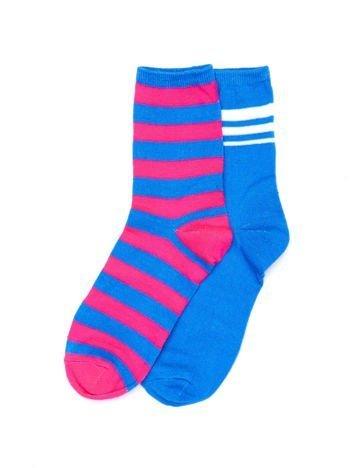 Różowo-niebieskie bawełniane skarpety w paski 2-pak
