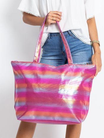 Różowo-pomarańczowa duża torba damska