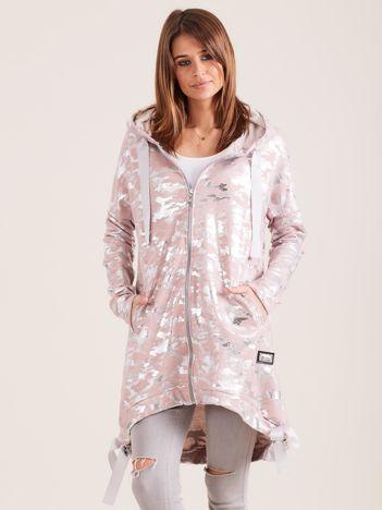 Różowo-srebrna błyszcząca dresowa bluza z kapturem