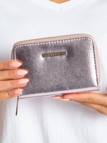 Różowo-srebrny portfel na suwak