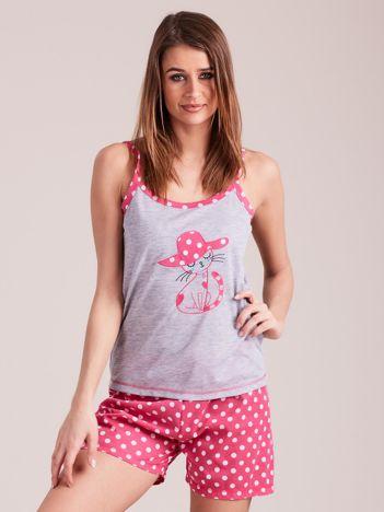Różowo-szara piżama damska w grochy