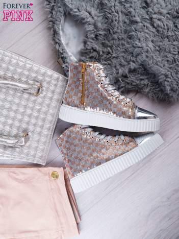 Różowosrebrne sneakersy Kailey z cekinami w szachownicę