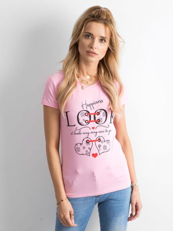 Różowy bawełniany t-shirt damski z nadrukiem