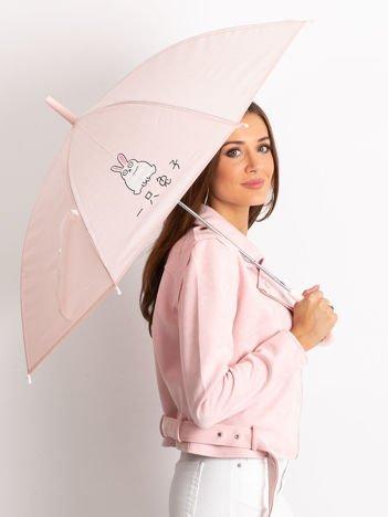 Różowy damski parasol z nadrukiem
