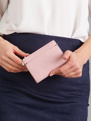 Różowy damski portfel na zatrzask