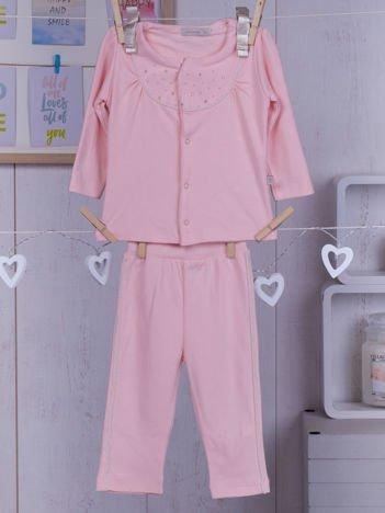 Różowy dwuczęściowy bawełniany komplet niemowlęcy dla dziewczynki