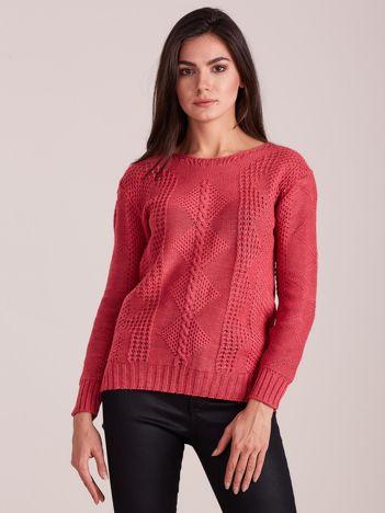 Różowy dzianinowy sweter damski