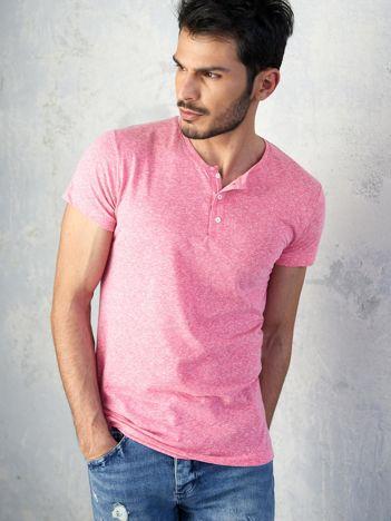 Różowy melanżowy t-shirt męski