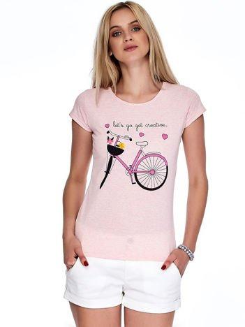 Różowy melanżowy t-shirt z rowerem