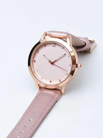 Różowy perłowy zegarek damski z cyrkoniami na tarczy