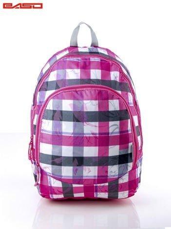 2121d39aef334 Różowy plecak szkolny dla dziewczynki w kratkę