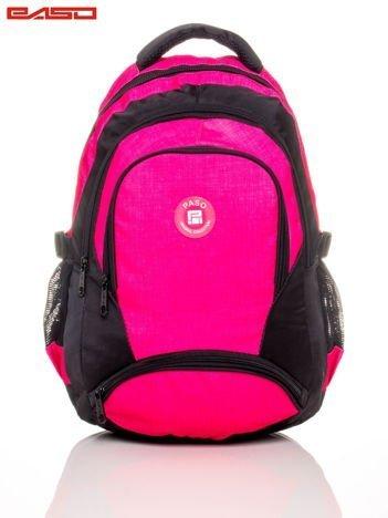 Różowy plecak szkolny z naszywką