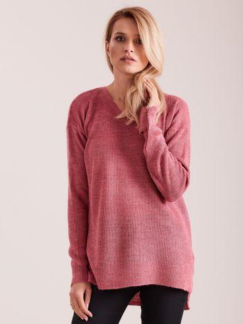 Różowy sweter damski w serek