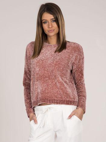 Różowy sweter damski z szenili