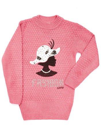 Różowy sweter dla dziewczynki z aplikacją