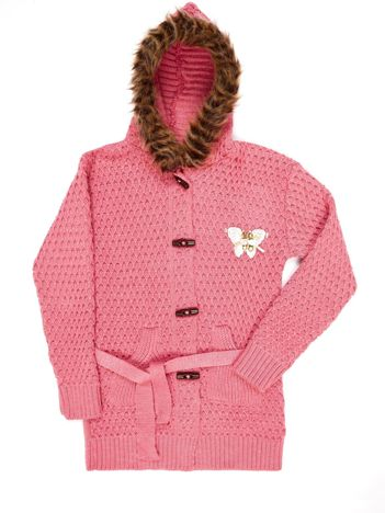 Różowy sweter dla dziewczynki z futrzanym kołnierzem