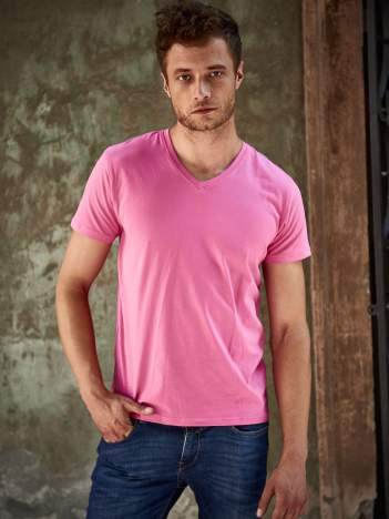 Różowy t-shirt męski z trójkątnym dekoltem Funk n Soul